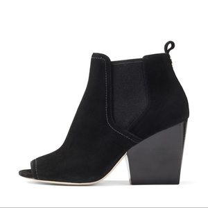 Tory Burch Peep Toe Black Ankle Boots NEW